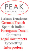 Peak Translations Ltd, Peak Translations - German French Spanish Business Translating Dutch Portuguese Interpreters Legal Contracts Manuals Cheshire UK, London