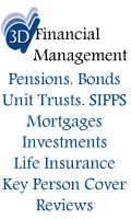 3D Financial Management, 3D Financial Management Independent Financial Advisers IFA Pensions Savings Investments ISA SIPPS Unit Trusts Bonds Life Cover Cheshire North Wales, Manchester Irlam