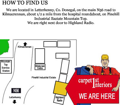 Carpet Interiors location map Letterkenny, County Donegal.