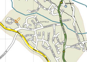 Meadow Vale Carpets location map Duffield,Derbyshire.